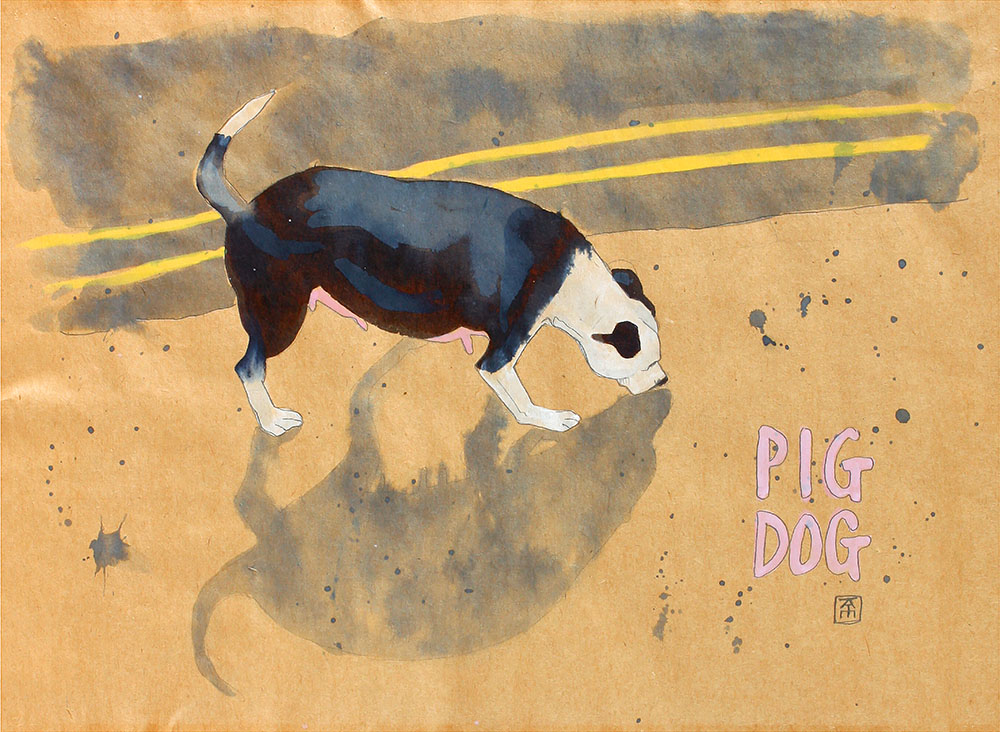 drawing of a stray Staffordshire bull terrier walking along a street with a shadow that looks lie a sow