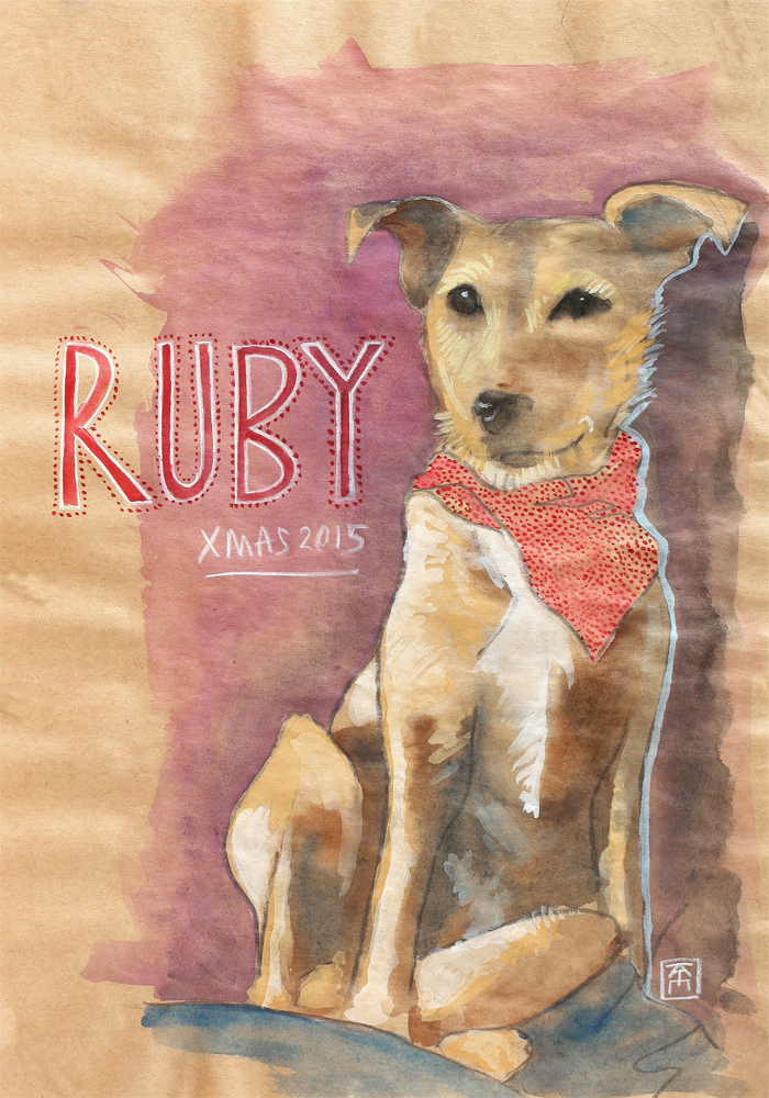 Ruby: portrait of a patterdale terrier cross