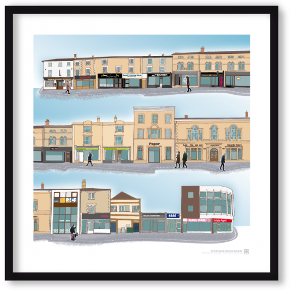 Drawn image of Victoria Road, Swindon with photographic collage