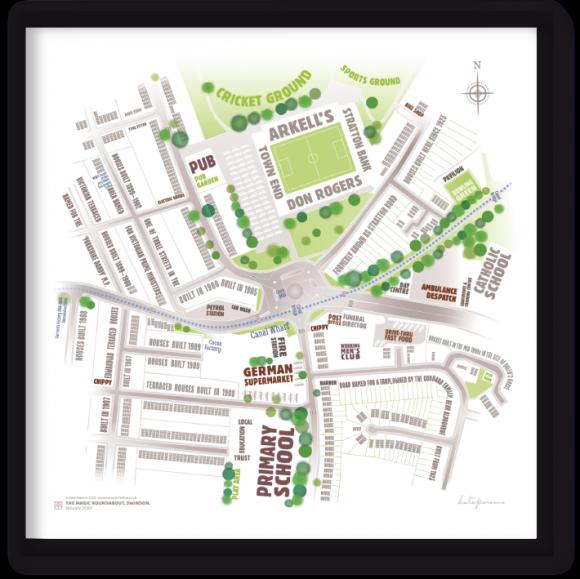Magic Roundabout, Swindon – typographic art map