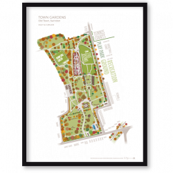 Town Gardens Autumn typographic art map
