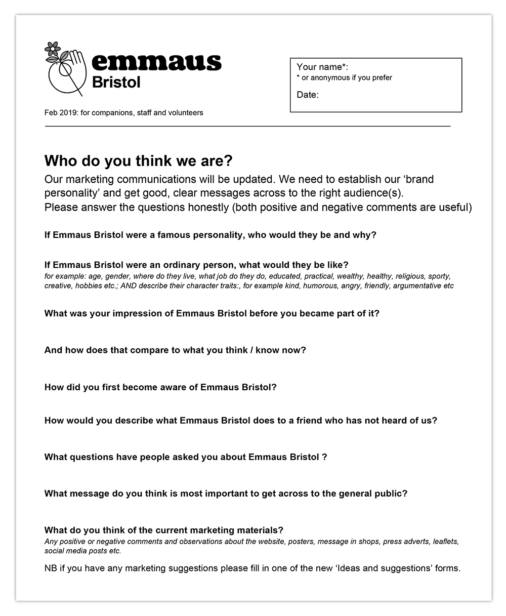 questionnaire informing brand and communications developments